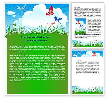 Nature & Environment: 夏の牧草地 - Wordテンプレート #07697