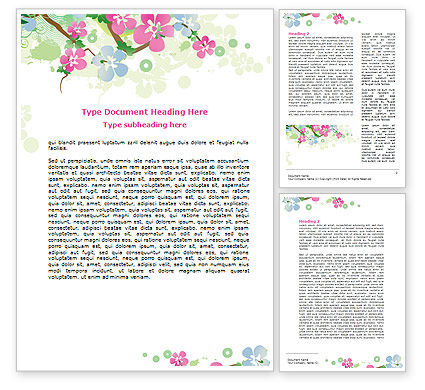 Spring Tree Theme Word Template