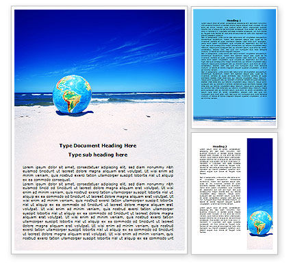 Globe On A Shore Word Template, 07727, Nature & Environment — PoweredTemplate.com
