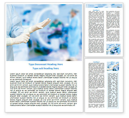 Medical: Rubber Gloves Word Template #07730