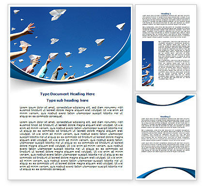 Running Paper Planes Word Template, 07741, Business Concepts — PoweredTemplate.com