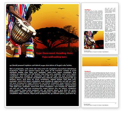 African Drum Word Template, 07744, Flags/International — PoweredTemplate.com