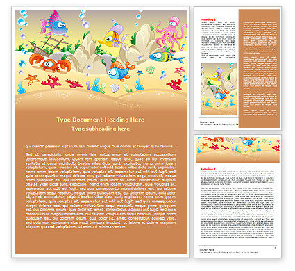 Under the Sea Word Template, 07745, Education & Training — PoweredTemplate.com