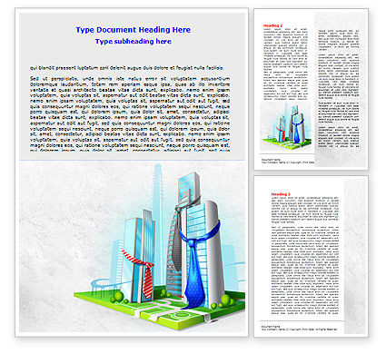 Business Buildings Word Template, 07750, Business — PoweredTemplate.com