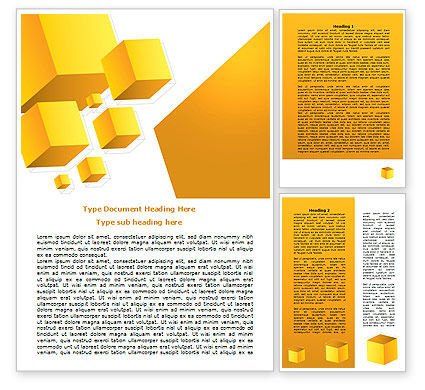 Abstract/Textures: Yellow Cubes Word Template #07763