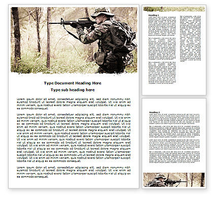 Military: Camouflage Soldier Word Template #07766