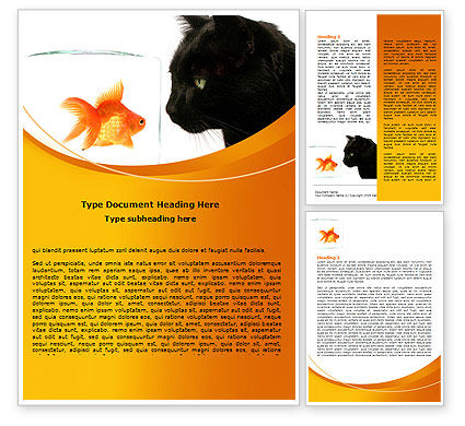 Fish and Cat Word Template, 07779, Business Concepts — PoweredTemplate.com