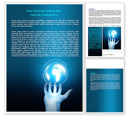 Global: Glowing Globe Word Template #07786