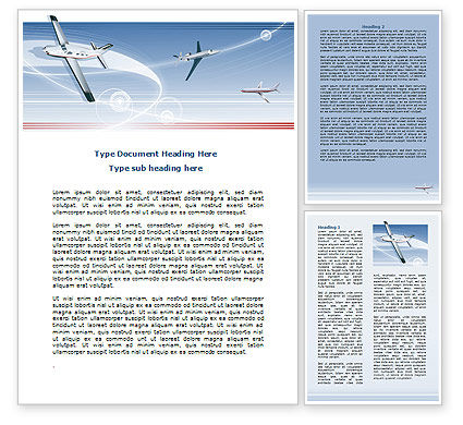 Air Transport Word Template, 07793, Cars/Transportation — PoweredTemplate.com