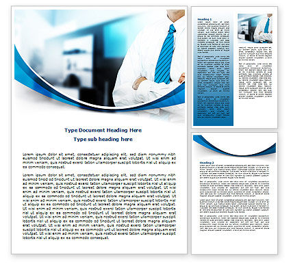 Blue Tie Word Template, 07806, Business — PoweredTemplate.com