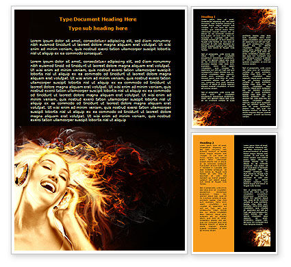 Flame Girl Word Template, 07807, Careers/Industry — PoweredTemplate.com