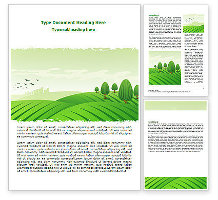 Green Hills Word Template, 07809, Agriculture and Animals — PoweredTemplate.com