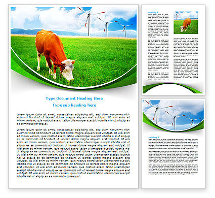 Agriculture and Animals: Grazing Cow Word Template #07811