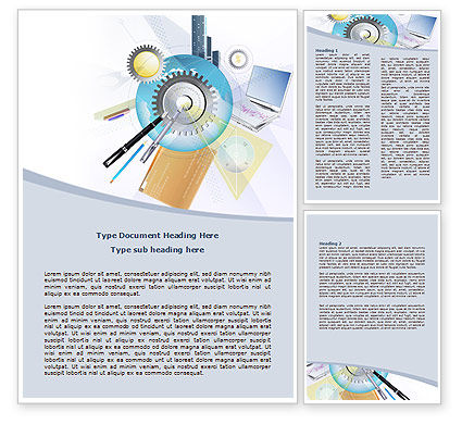 Work Technology Word Template, 07824, Business — PoweredTemplate.com