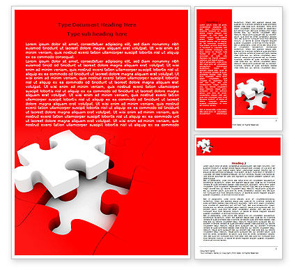 Consulting: White Jigsaw on Red Word Template #07836