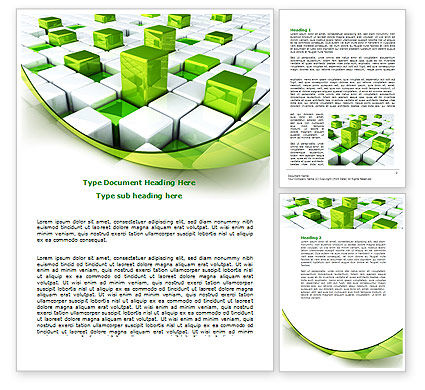 Green Graphs Word Template, 07839, Technology, Science & Computers — PoweredTemplate.com