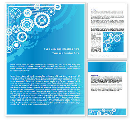 Business: Pinion Blue Theme Word Template #07847
