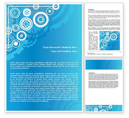 Pinion Blue Theme Word Template, 07847, Business — PoweredTemplate.com