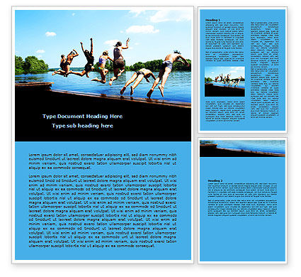 People: Swimming Party Word Template #07851