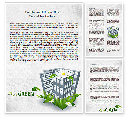 Nature & Environment: Green Building Word Template #07853