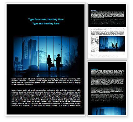 Dark Business Theme Word Template, 07863, Business — PoweredTemplate.com