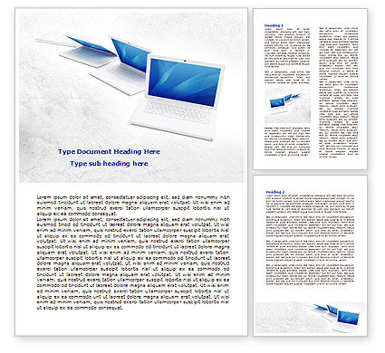 Laptops Word Template, 07866, Technology, Science & Computers — PoweredTemplate.com