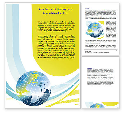 Global: Yellow Globe Theme Word Template #07870