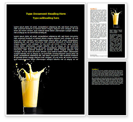 Glass Of Orange Juice Word Template, 07871, Food & Beverage — PoweredTemplate.com