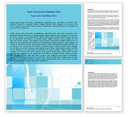 Business: Aqua Cubic Theme Word Template #07873