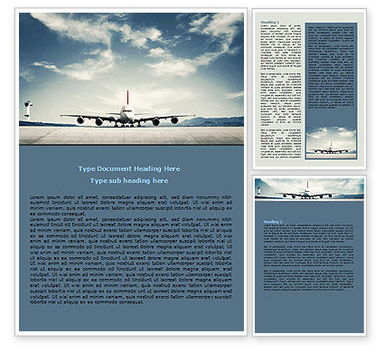 Air Liner Word Template, 07887, Cars/Transportation — PoweredTemplate.com