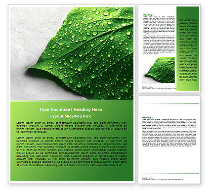 Nature & Environment: Wet Leaf Word Template #07892