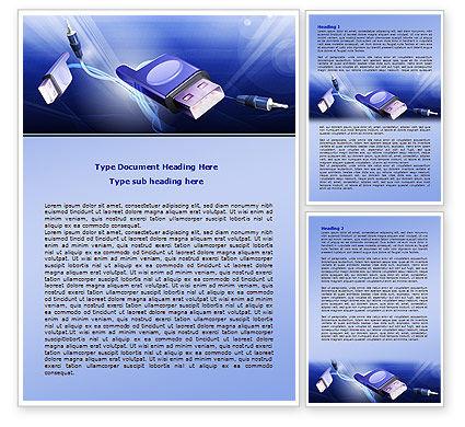 Computer Connectors Word Template, 07921, Telecommunication — PoweredTemplate.com