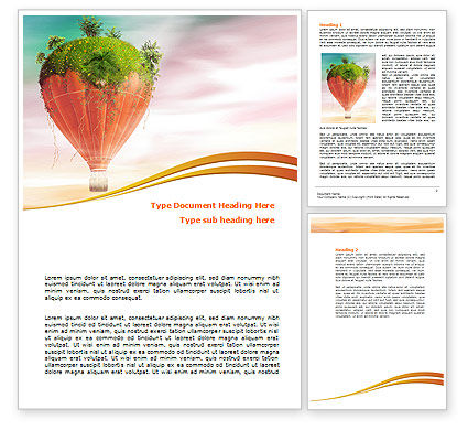 Nature & Environment: Hot Air Balloon Word Template #07933
