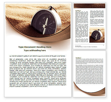 Compass in Sand Word Template, 07942, Business — PoweredTemplate.com