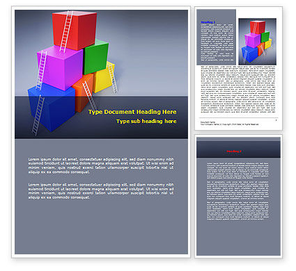 Pyramid of Cubes Word Template, 07947, Consulting — PoweredTemplate.com