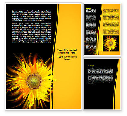 Flaming Sunflower Word Template