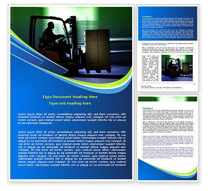 Loader In The Warehouse Word Template, 07952, Utilities/Industrial — PoweredTemplate.com