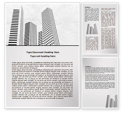 Construction: Gray Skyscrapers Word Template #07974