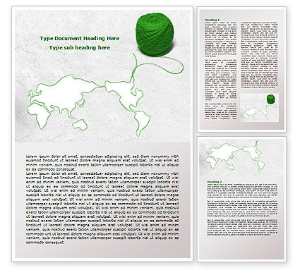 Tangle Of Green Yarn Around The World Word Template