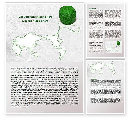 Tangle Of Green Yarn Around The World Word Template, 07981, Global — PoweredTemplate.com