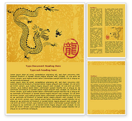 Chinese Dragon Word Template, 07985, Holiday/Special Occasion — PoweredTemplate.com