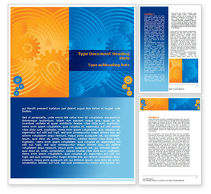 Business: Geared Yellow Blue Word Template #07986
