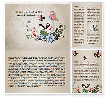 Bird Theme Word Template, 08004, Nature & Environment — PoweredTemplate.com
