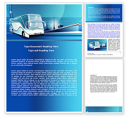 Cars/Transportation: Coach Bus Word Template #08005