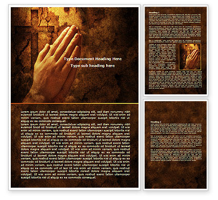 Prayer Hands Word Template, 08023, Religious/Spiritual — PoweredTemplate.com
