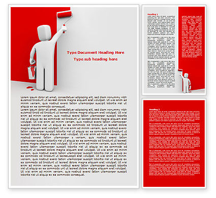 Paint It Red Word Template, 08026, Careers/Industry — PoweredTemplate.com