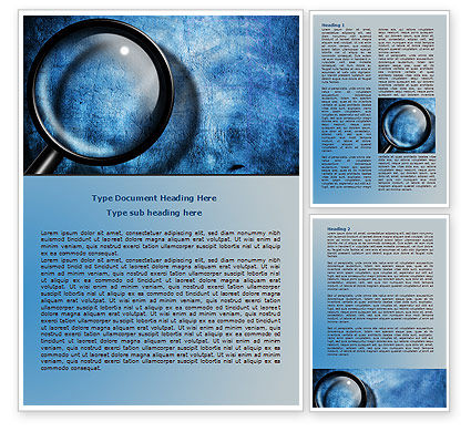 Magnifier On A Blue Parchment Word Template, 08041, Consulting — PoweredTemplate.com