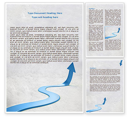 Business Concepts: Modelo do Word - blue arrow path #08043