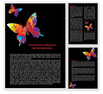 Color Butterfly Word Template, 08054, Nature & Environment — PoweredTemplate.com