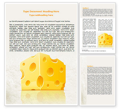 Piece of Cheese Word Template, 08077, Food & Beverage — PoweredTemplate.com